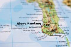 Ujung Pandang on map Royalty Free Stock Photos