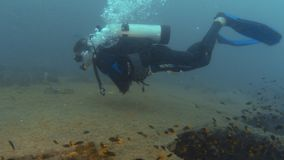 Bubbles coming out of the diver`s mask