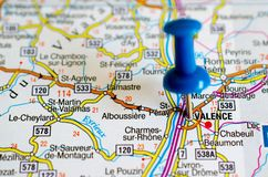 Valence on map. Close up shot of Valence on map with blue push pin Royalty Free Stock Photos