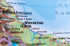 Veracruz on map. Close up shot of Veracruz. officially known as Heroica Veracruz, is a major port city and municipality on the Gulf of Mexico in the Mexican Stock Images