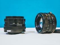 Close up shot of vintage camera lens stock photos