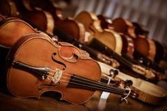 Close up shot of  violins Stock Photography