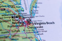 Virginia Beach, Virginia on map. Close up shot of Virginia Beach, Virginia. is an independent city located on the southeastern coast of the Commonwealth of royalty free stock photos