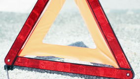 Close up shot of warning triangle stock video footage
