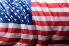 Close-up shot of waving united states flag, Independence. Day concept royalty free stock images