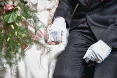 Wedding couple holding hands. Close up shot of wedding couple holding hands Royalty Free Stock Images