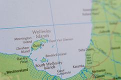 Wellesley Islands on map. Close up shot of Wellesley Islands on map. are a group of islands off the coast of north Queensland, Australia, in the Gulf of stock photos