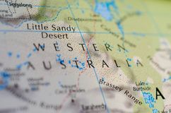 Western Australia on map. Close up shot of Western Australia on map. is a state occupying the entire western third of Australia Royalty Free Stock Photos