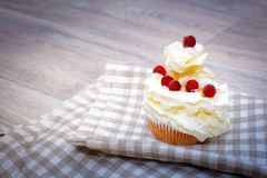 Close-up shot with whipped cream, fresh berries on a light checkered linen napkin royalty free stock photography