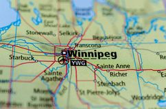 Winnipeg on map. Close up shot of Winnipeg. is the capital and largest city of the province of Manitoba in Canada Royalty Free Stock Image