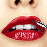 Close-up shot of woman lips makeup Stock Photography