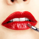 Close-up shot of woman lips makeup Royalty Free Stock Image