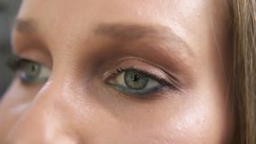 Close-up shot of a woman opening her green eyes with light day make-up and focusing them. Attractive beautiful young stock footage