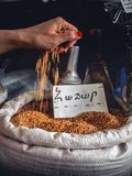 close-up shot of woman pouring seeds into sack with wheat selling on market royalty free stock photos