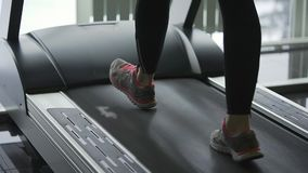 Close up shot of a woman who has been in the fitness club to keep fit. stock footage