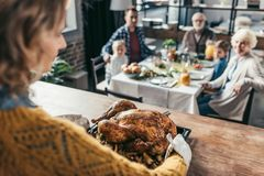 Close-up shot of woman with thanksgiving turkey for holiday dinner. Close-up shot of women with thanksgiving turkey for holiday dinner with family royalty free stock images