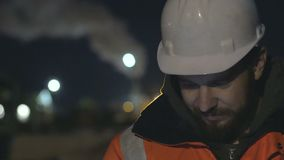 Close up shot of worker using smartphone in the twilight. Night shift concept.4k. Close up shot of worker using smartphone in the twilight. Night shift concept stock video