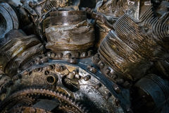 Close up shot of world war 2 airplane piston engine Royalty Free Stock Photos