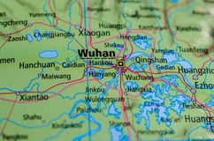 Wuhan on map. Close up shot of Wuhan. is the capital of Hubei province, People`s Republic of China Stock Photography