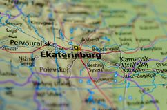 Yekaterinburg on map Royalty Free Stock Photography