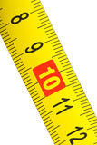 Close-up shot of yellow metal measurement tape Stock Images