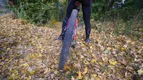 Close up shot of young woman on a bicycle in the autumn park. slow motion.  stock footage