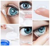 Close-up shot of young woman wearing contact lens. Royalty Free Stock Image
