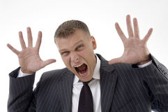 Close up of shouting adult lawyer. Against white background Stock Photos