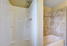 Close up of shower cabin and bathtub Royalty Free Stock Image