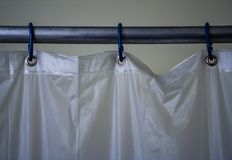 Close Up Shower Curtain Rod And Curtain, Three Rings Royalty Free Stock Image