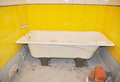 Shower Installation and Bathtub Installation. Bathroom. Royalty Free Stock Images