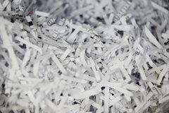 Close Up of Shredded Paper Documents Stock Images