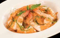 Close Up of Shrimp & Pasta bowl Royalty Free Stock Images