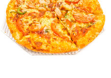 Close up shrimp pizza Royalty Free Stock Photos