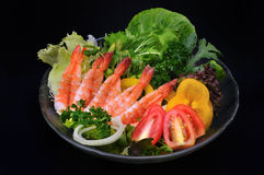 Close up shrimp and vegetables salad Royalty Free Stock Photos