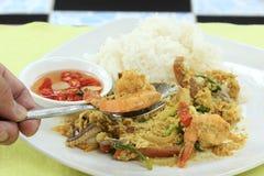 Close up the shrimp yellow curry powder stir Fried Stock Photos