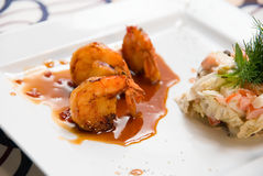 Close up of Shrimps gourmet foods Royalty Free Stock Photography