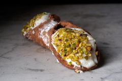 Close up of a Sicilian cannolo royalty free stock photos