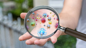 Close up on a sick man hand through magnifying glass transmittin. G virus by skin contact 3D rendering Stock Image