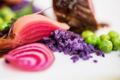 Close up of side dishes. Fancy restaurant side dishes: fresh beetroot, peas, pea puree and purple potatoes powder Royalty Free Stock Photos
