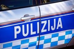 Maltese Police car, Marsaxlokk, Malta. Close up of the side of a Maltese police car, Marsaxlokk, Malta, Europe Stock Photo