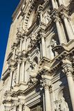Close-up side perspective of the facade of Girona Cathedral royalty free stock photos