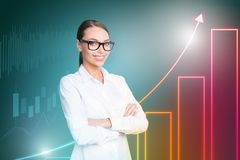 Close up side profile design stylized graphic virtual poster photo confident she her business lady social marketing royalty free illustration