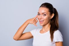 Close up side profile photo beautiful amazing she her lady ideal appearance talk tell speak say hand arm fingers. Telephone symbol worker specialist wear casual royalty free stock photos