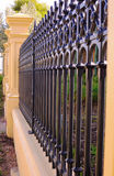 Close up side view of beautiful Victorian era style front fence Stock Photos