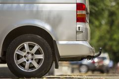 Close-up side view detail of silver passenger medium size luxury royalty free stock photo