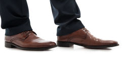 Close-up of side view leather brown elegant man shoes Royalty Free Stock Photos