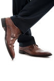 Close-up of side view leather brown elegant man shoes Royalty Free Stock Images