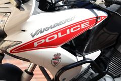 Close Up Side View Of A Monaco Police Motorcycle. Monte-Carlo, Monaco - March 17, 2018: Close Up Side View Of A Monaco Police Motorcycle, Red And White Honda XL royalty free stock photography