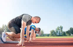Free Close-up Side View Of Cropped People Ready To Race On Track Field Stock Images - 80823374